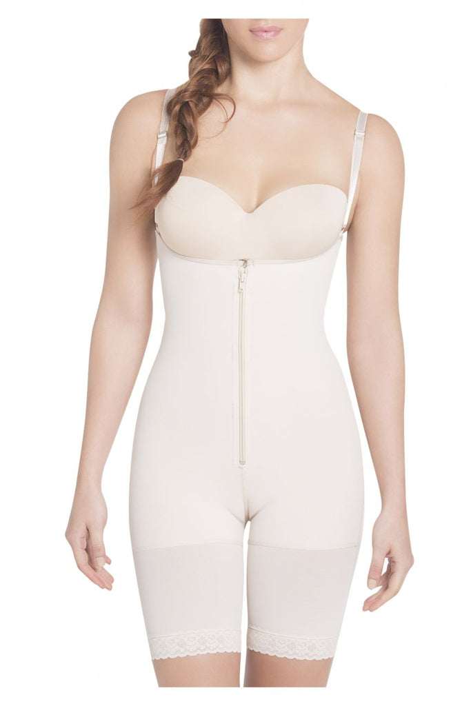 Siluet 1007 High Compression Braless Mid-Thigh Bodysuit Color Nude