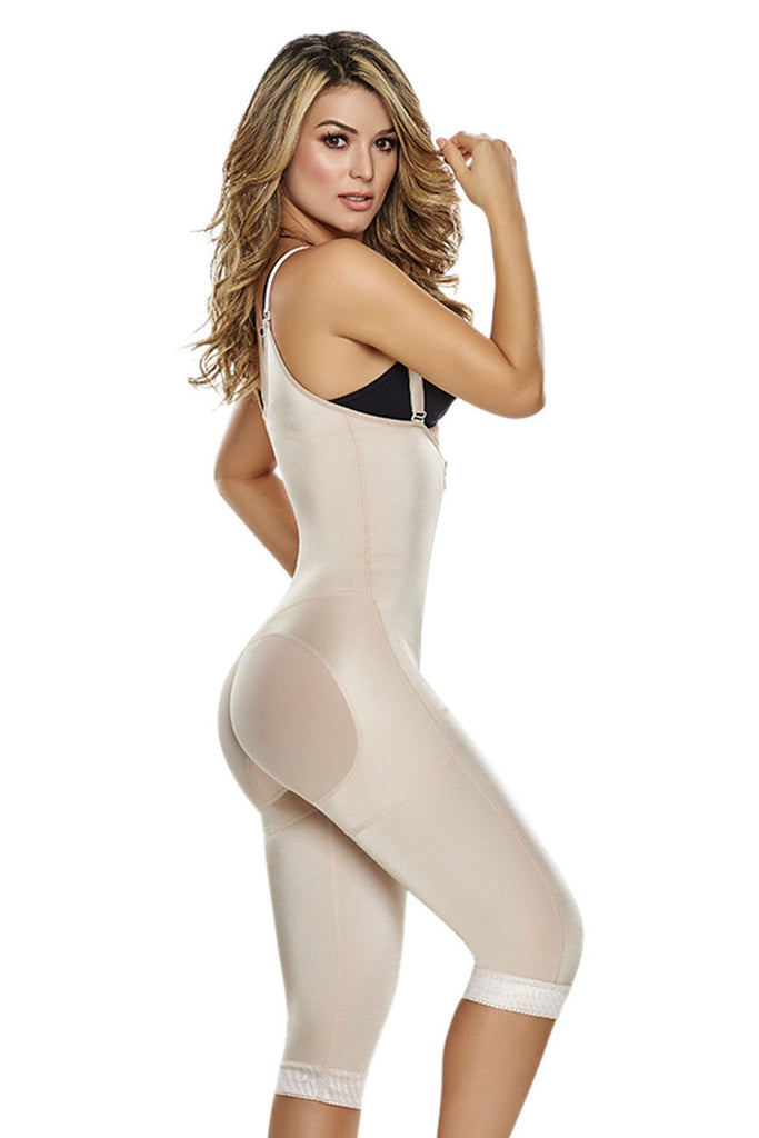 TrueShapers 1222 Slimming Braless Body Shaper With Thighs Slimmer  Color Beige