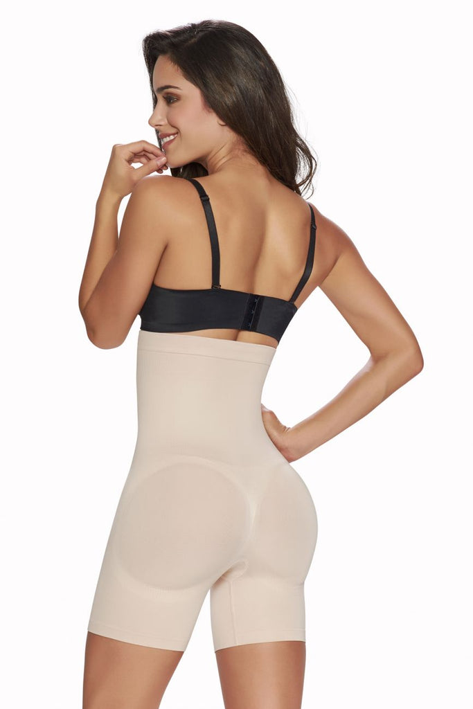 TrueShapers 1231 High-Waisted Mid-Thigh Short Color Beige