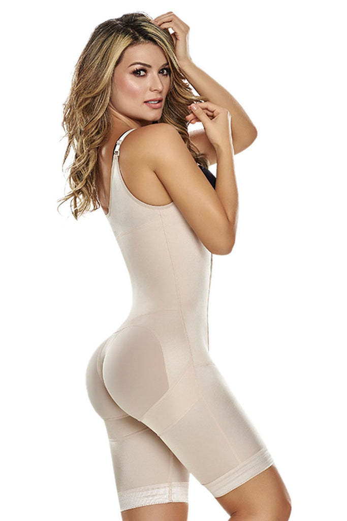 TrueShapers 1251 Power Slimmed Mid-Thigh Body Shaper Girdle Color Beige