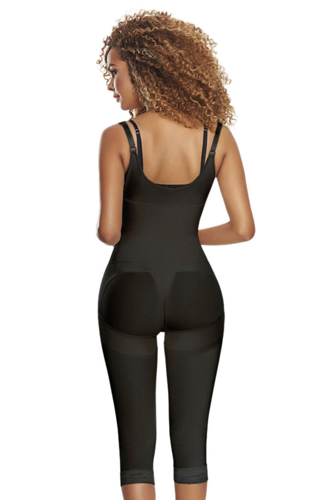 TrueShapers TS-1252 Slimming Braless Body Shaper Girdle With Thighs Slimmer-Black-XL
