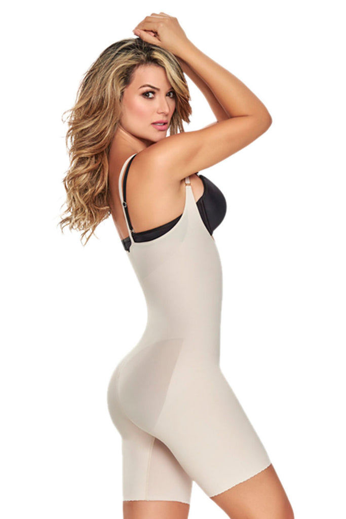 TrueShapers 1272 Mid-Thigh Invisible Open Bust Bodysuit Color Beige
