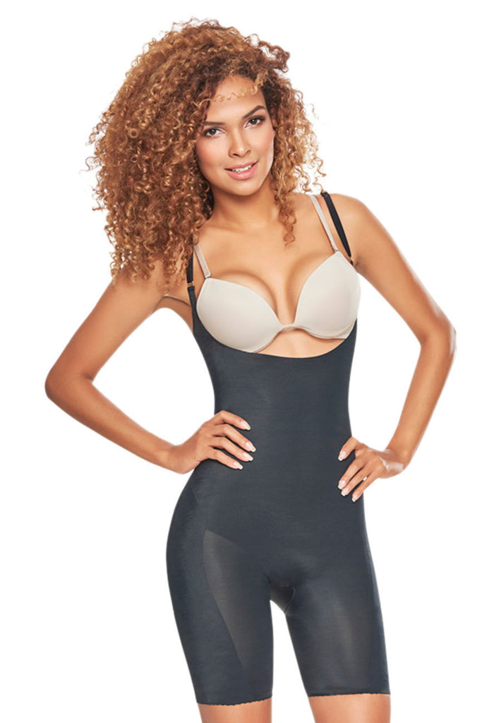 TrueShapers 1272 Mid-Thigh Invisible Open Bust Bodysuit Color Black