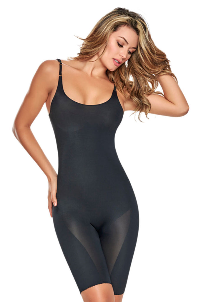 TrueShapers 1278 Mid-Thigh Invisible Bodysuit Shaper Short Color Black