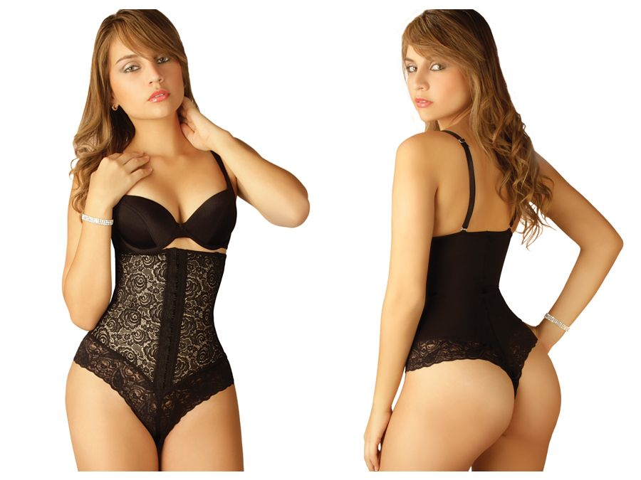 Vedette 128 Katia Strapless Lace Bodysuit in Thong Color Black