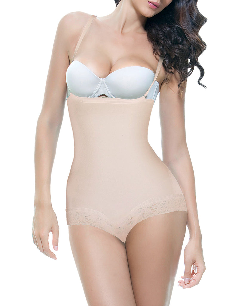Vedette 134 Scarlett Strapless Shapewear Body w/ Lace Trim Color Nude