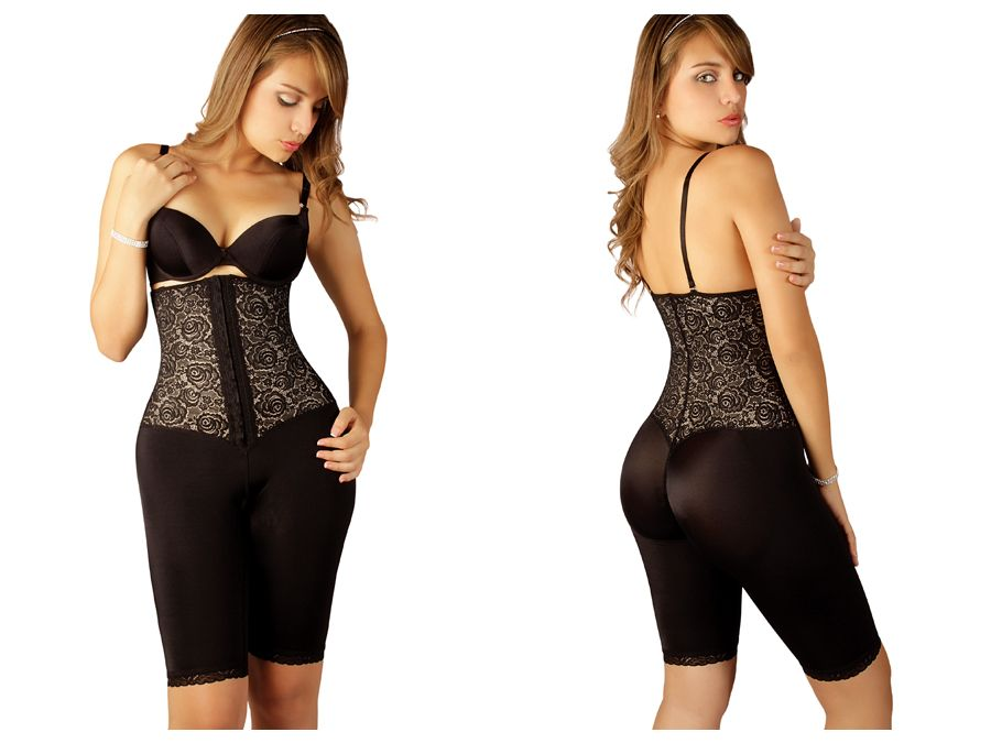 Vedette 508 Coco Strapless Mid Thigh Full Body Shaper Color Black