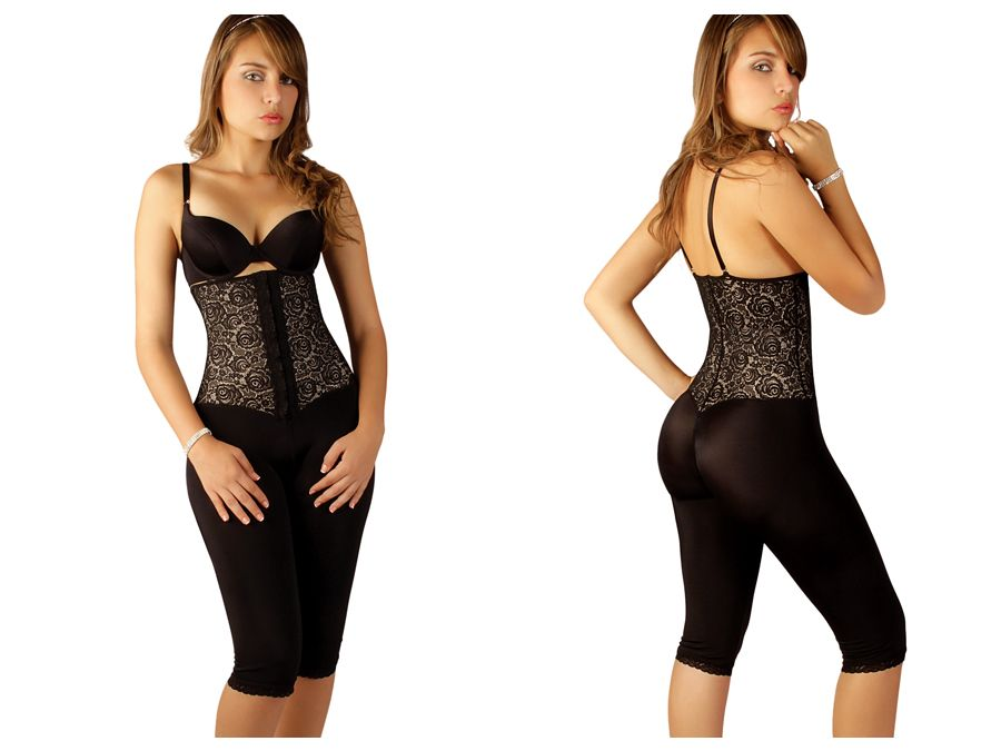 Vedette 509 Coco Strapless Knee Length Full Body Shaper Color Black