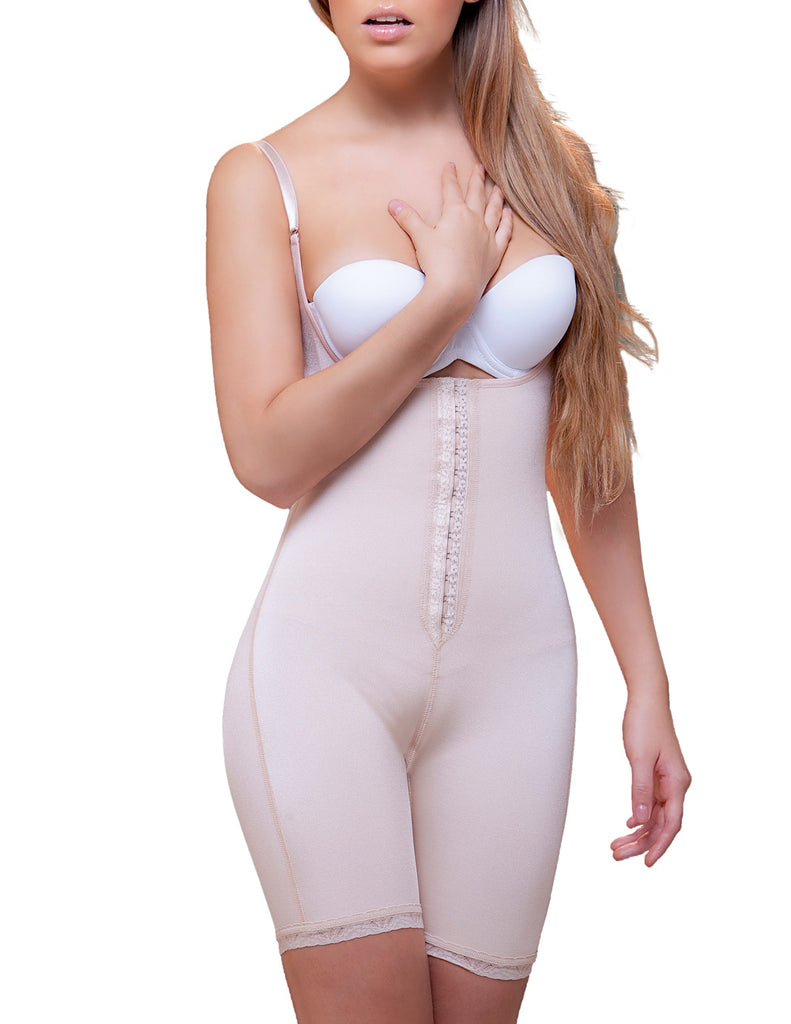 Vedette 915 Amelie Open Bottom Mid thigh Shaper w/ Front Closure Color Nude