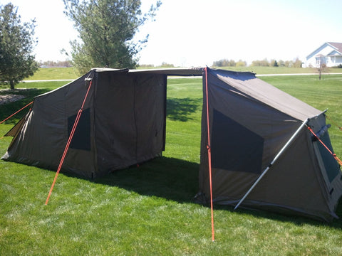 Oztent RV4 with Tagalong Tent & Oztent RV 4 Easy Setup Tent in 30 Seconds