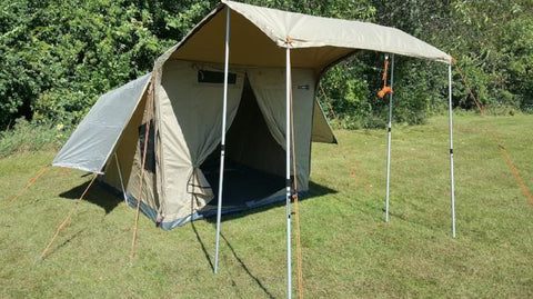 Oztent RX5 Tent - Front Awning Rolled Out with Poles