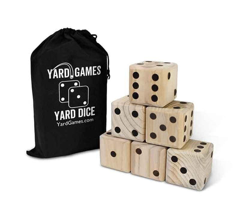 Wooden dice with carry bag