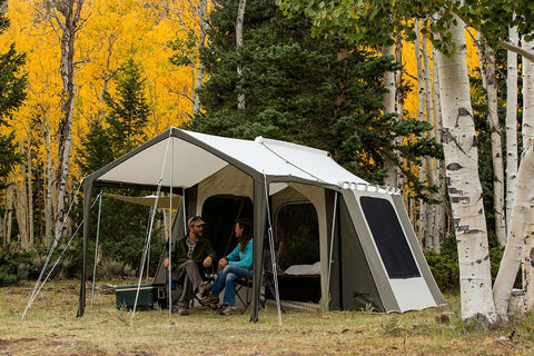 Kodiak Canvas Deluxe Cabin Tent with Awning- Nature & Kodiak 6133 Canvas Cabin Tent with Deluxe Awning Sleeps 6