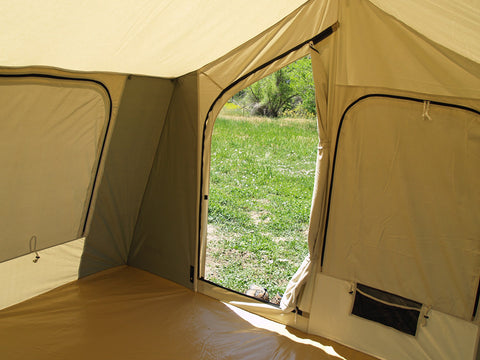 Kodiak Canvas Deluxe Cabin Tent with Awning - Inside & Kodiak 6133 Canvas Cabin Tent with Deluxe Awning Sleeps 6