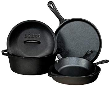Lodge 5 Piece Pre Seasoned Cast Iron Cookware Set - 1120172