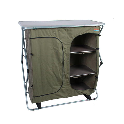Sierra 4 Shelf Double Camp Cupboard-Storage Door Open