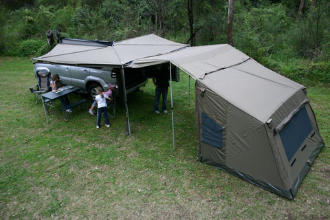 Oztent RV4 Connected to a Foxwing Awning & Oztent RV 4 Easy Setup Tent in 30 Seconds