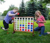 Playing Connect 4 in a Row Yard Game