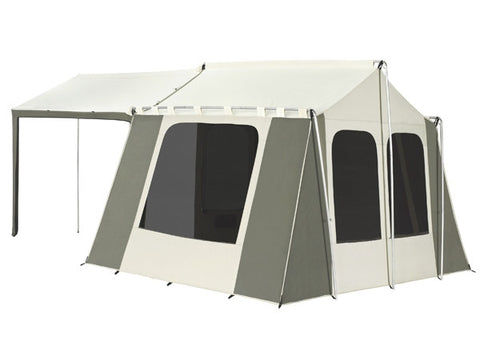 Kodiak Canvas Deluxe Cabin Tent with Awning - Rear  sc 1 st  Family Tent C&ing & Kodiak 6133 Canvas Cabin Tent with Deluxe Awning Sleeps 6