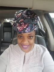 "African Head wrap ""Grey Windows"""