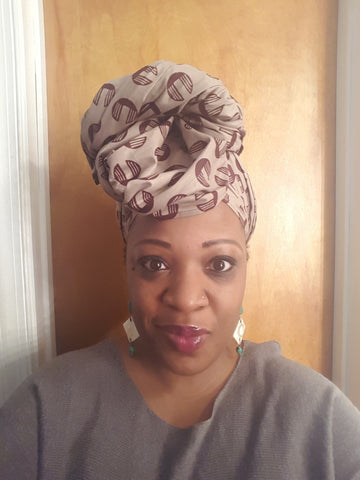 African Headwrap Hazelnut  Chic