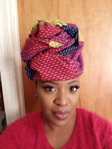 "African Head wrap ""Dots"" Chic"