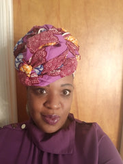 African Headwrap Purple Paisley