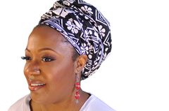 African Head wrap Ebony & Ivory Chic