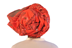 "African Head wrap ""Red Hot"" Couture"