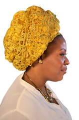 African Head wrap I love Gold Couture