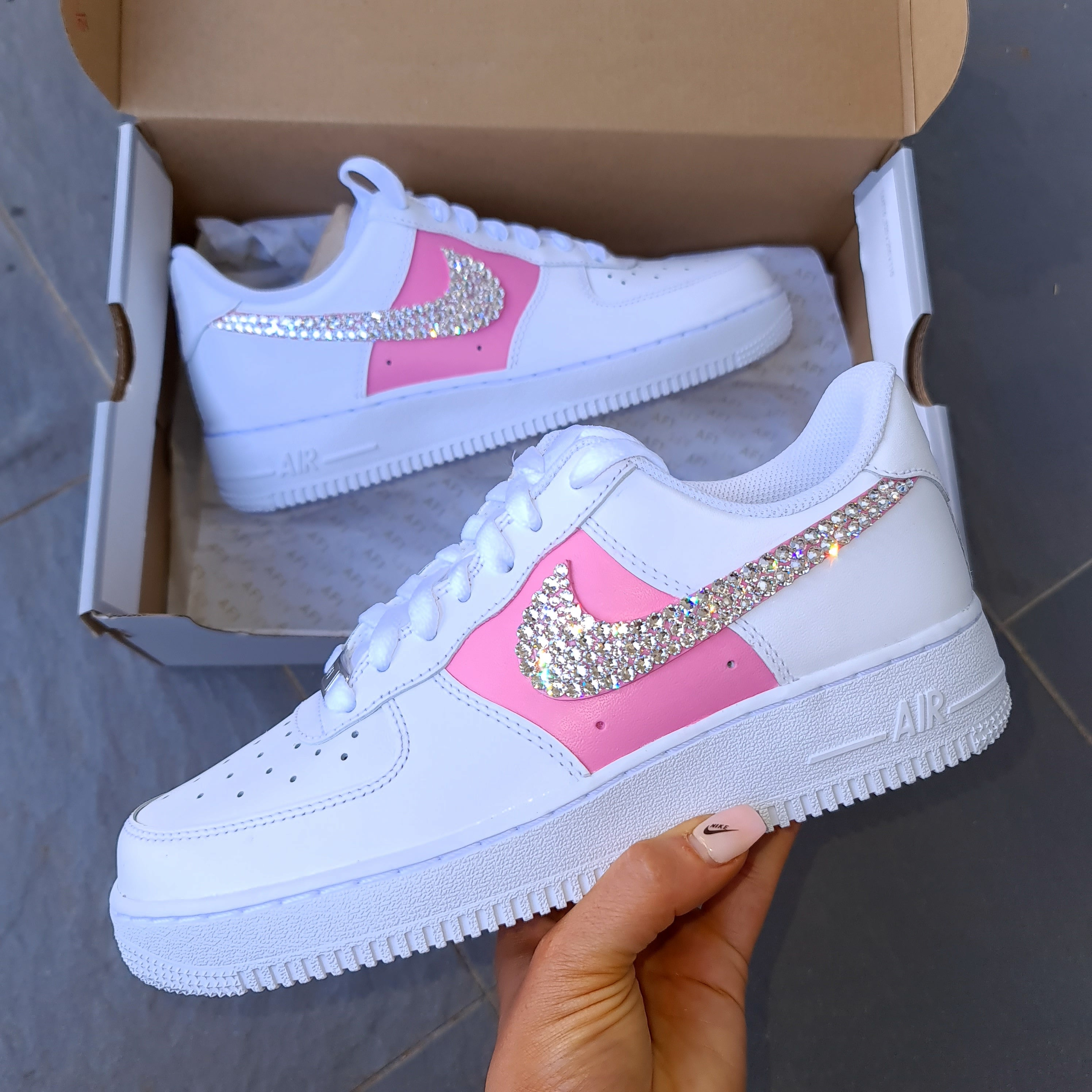 Nike Women Air Force 1 (White/ Custom Painted Pink)