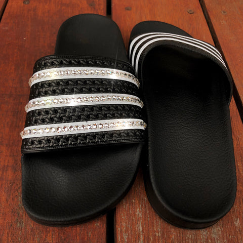 Nike Womens OffCourt Leather Slides (Black)