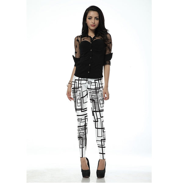Black Line Doodles Leggings