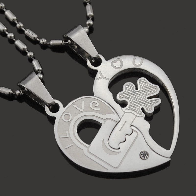 Couple Clover Key Necklace