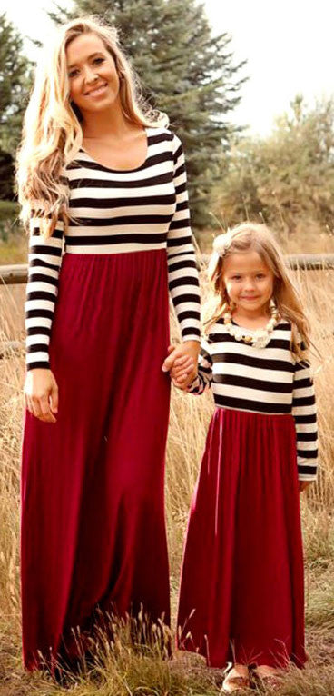 Mother & Daughter Long Sleeve Striped Dress