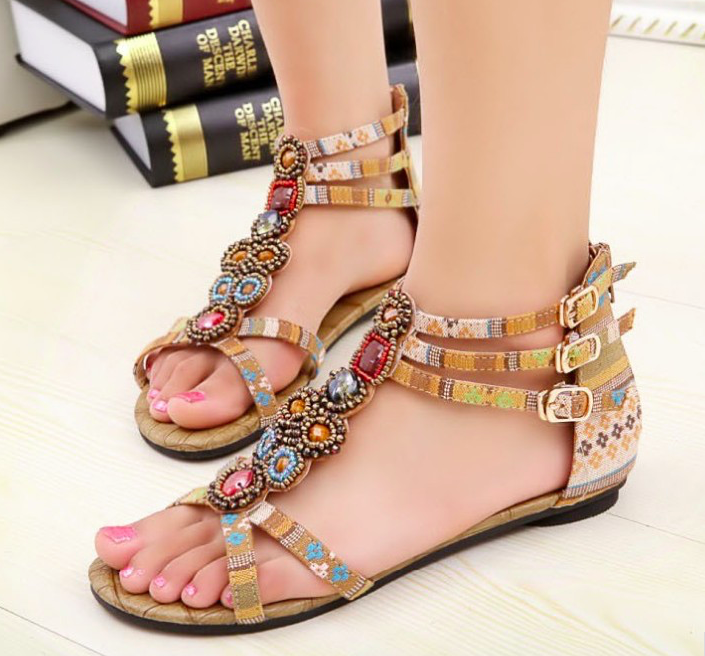 Nation Flat Beaded Sandals