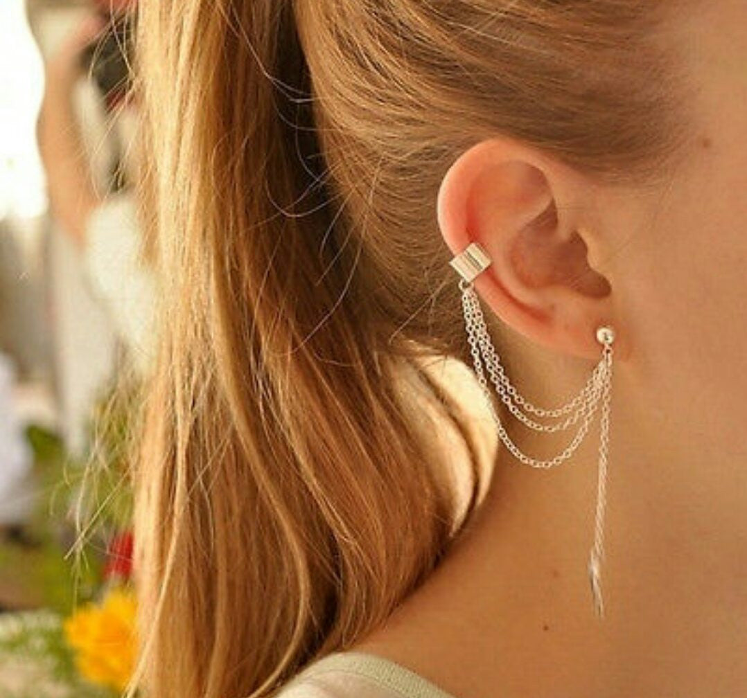 Leaf Single Tassel Earring