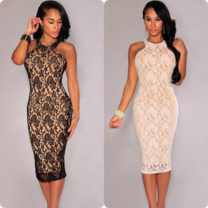 Lace O-Neck Dress