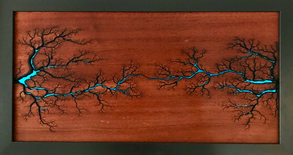 Electrocuted Mahogany Wood Art with Blue Acrylic - Andalog