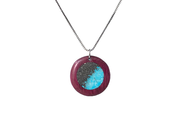 Meteorite Purpleheart Pendant with Turquoise - Andalog