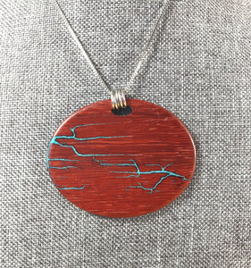 Electrocuted Padauk Pendant with Turquoise Inlay