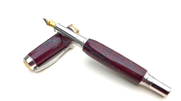 Electrocuted Purpleheart Wood Fountain Pen with Turquoise Stone Inlay - Andalog