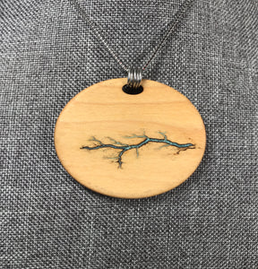 Electrocuted Maple Pendant with Turquoise Inlay