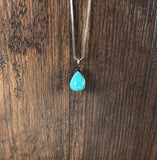 Ebony with Turquoise Teardrop Pendant