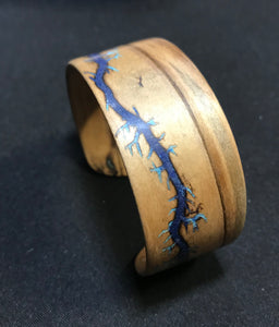 Electrocuted Steam-Bent Solid Ambrosia Maple Wood Bracelet with Stone Inlay - Andalog