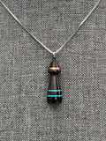 Ebony Pendant with Turquoise & Copper Inlay