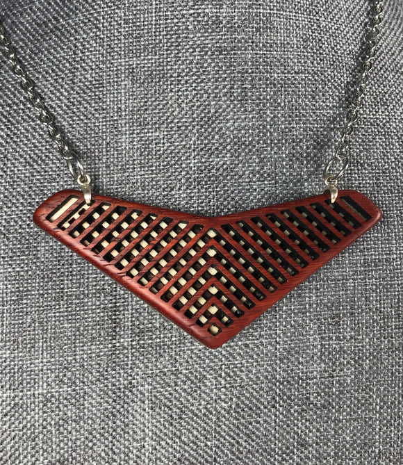 Padauk, Maple, and Walnut Arrow Pendant