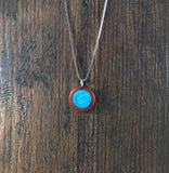 Padauk Pendant with Turquoise Stone and Aerospace Aluminum