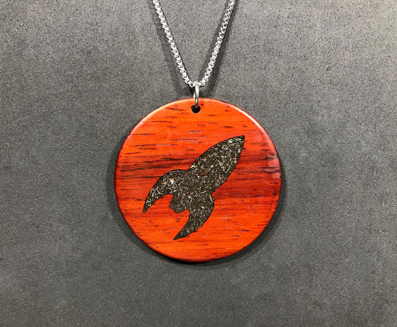 Rocket ship Wood Pendant with Meteorite Inlay - Andalog
