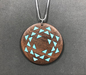 Walnut Pendant with Turquoise Stone Inlay - Andalog